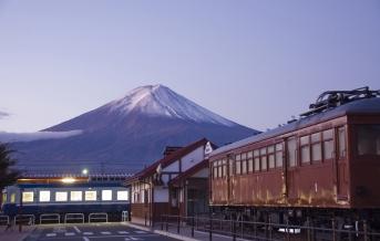Sopka Fudži, západ slunce
