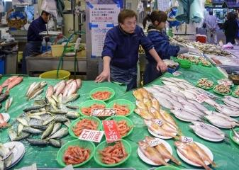 Japonsko, rybí trh Tsukidži