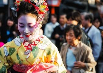 Gejši ve čtvrti Gion, Kjóto