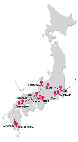 trasa zájezdu Císařský okruh Japonskem