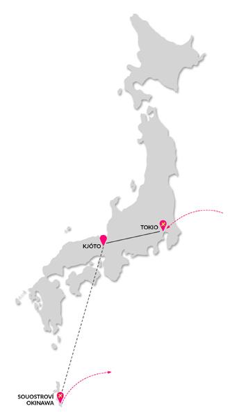 Mapa zájezd exotické Japonsko a pláže