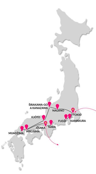 trasa zájezdu Velká cesta Japonskem